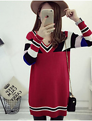 Women's Casual/Daily Simple Long Pullover,Color Block Multi-color V Neck Long Sleeve Polyester Fall Medium Micro-elastic