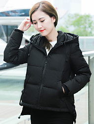 Women's Down Coat,Simple Casual/Daily Solid-Others White Duck Down Long Sleeve Blue / Red / Black