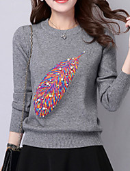 Women's Casual/Daily Cute Regular Pullover,Patchwork Red White Black Gray Yellow Round Neck Long Sleeve Wool Fall Medium Stretchy