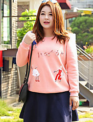 Sweatshirt Femme Grandes Tailles Décontracté / Quotidien simple Imprimé Col Arrondi Non Elastique Coton Polyester Manches LonguesAutomne