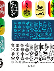Rectangular Plate Manicure Printing Template Christmas Series