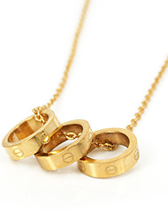 Fashion Gold Plating 316L Stainless Steel Screw Shape Three rings Pendant Neclace