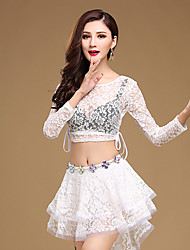 Belly Dance Outfits Women's Training Lace Lace / Sequins 2 Pieces Long Sleeve Natural Top / Skirt