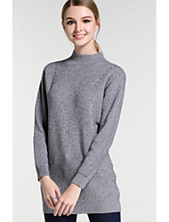 Women's Casual/Daily Simple Long Pullover,Solid Gray Turtleneck Long Sleeve Polyester Winter Thick Micro-elastic