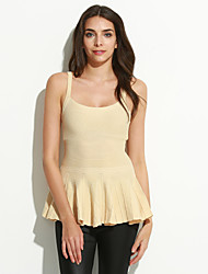 Women's Casual/Daily Sexy Street chic Regular Vest,Solid White Beige Strap Sleeveless Cotton Summer Thin Micro-elastic