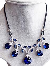 Feminino Colarinho Safira Formato Circular Forma Redonda Forma Geométrica Cristal Circular Moda Azul Real Jóias ParaCasamento Festa