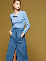Mujer Regular Pullover Casual/Diario Simple,Un Color Azul / Beige Cuello Camisero Manga Larga Algodón Primavera / Otoño Medio