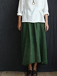 Women's Swing Solid Skirts,Going out / Casual/Daily Cute Mid Rise Midi Elasticity Linen Micro-elastic Summer