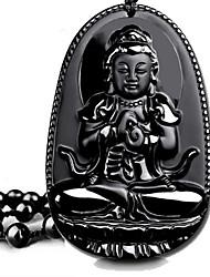 Colliers Tendance Obsidienne Pendentif de collier Bijoux Quotidien / Décontracté Basique Titane Femme / Hommes / Couple 1pc Cadeau Noir