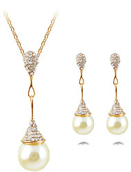 Women's Necklace/Earrings Statement Necklaces Imitation Pearl Pearl Simulated Diamond Alloy Drop Pendant Statement Jewelry Silver Golden