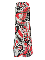 Women's Plus Size A Line Animal Print Knitting Skirts,Beach / Holiday Boho High Rise Maxi Elasticity Polyester Stretchy Spring / Summer