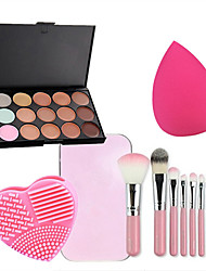 7pcs Makeup Brushes Set Professional Blush/Powder Brush 15 color Concealer Rose Red Powder Puff with Wash Egg