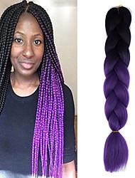 1 Pack Black Ombre Violet Crochet 24inch Yaki Kanekalon Fiber 100g 2 Tone Jumbo Braids Synthetic Hair Extensions