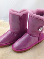 Girls' Boots Comfort Snow Boots PU Winter Casual Flat Heel Dark Blue Purple Fuchsia Ruby Blushing Pink Flat