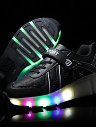 Para Niña-Tacón Cuña-Confort Light Up Zapatos-Zapatillas de Atletismo-Exterior Deporte Informal-Tul-Negro Rosa Plata