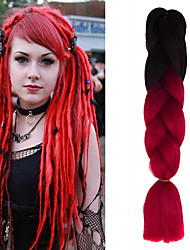 "1 Pack Black Ombre Red Crochet 24"" Yaki Kanekalon Fiber 100g 2 Tone Jumbo Braids Synthetic Hair"