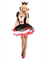 Reina Festival/Celebración Traje de Halloween Rojo / Blanco / Negro Un Color / Encaje VestidoHalloween / Navidad / Carnaval / Día del