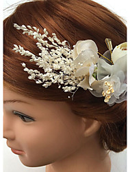 Mulheres Pérola Strass Liga Chifon Tecido Capacete-Casamento Ocasião Especial Flores Clip para o Cabelo 1 Peça