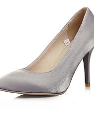 Damen-High Heels-Büro Lässig Kleid-Kunstleder-StöckelabsatzSchwarz Silber Mandelfarben