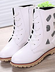 Girl's Boots Winter Comfort PU Casual Flat Heel Zipper Black Red White Others