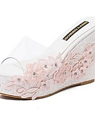 2016 new lace diamond slope with high-heeled sandals and slippers large spot