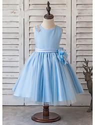 Princess Knee-length Flower Girl Dress - Satin / Tulle Sleeveless Scoop with Beading / Bow(s) / Flower(s)