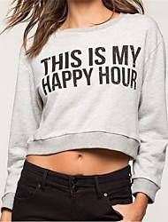 Tee-shirt Femme,Lettre Décontracté / Quotidien simple Automne / Hiver Manches Longues Col Arrondi Gris Polyester Moyen