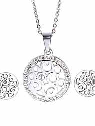 Kalen New Cheap Female Jewelry Sets Stainless Steel Rhinestone Pendant Necklace And Earrings Jewelry Sets For Girls Women Friendship Gifts