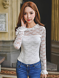 Women's Lace/Ruffle Going out / Casual/Daily / Party Sexy / Cute / Sophisticated Spring / Fall Shirt,Solid Round Neck Long Sleeve White