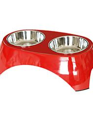Собака Кормушки Животные Чаши и откорма Водонепроницаемость / Отражение / На каждый день Красный Пластик / Нержавеющая сталь