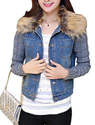 Feminino Jaquetas Jeans Casual / Tamanhos Grandes estilo antigo / Simples Outono / Inverno,Sólido Azul Pêlo Sintético / AlgodãoColarinho
