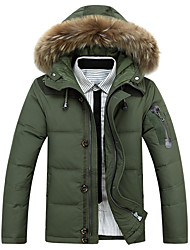 Men's Regular Down Coat,Street chic Sophisticated Sports Work Solid-Polyester White Duck Down White Goose Down Long Sleeve Shirt Collar