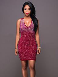 Moulante Robe Femme Soirée / Cocktail Soirée Sexy Chic de Rue,Couleur Pleine Col en V Mini Sans Manches Rose Rouge Noir PolyesterEté