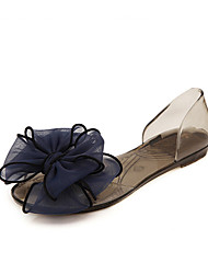 Feminino-Sandálias-Conforto-Rasteiro Heel translúcido-Branco Preto-PVC-Casual