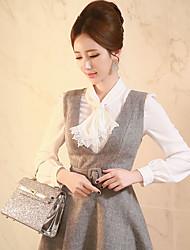 Feminino Camisa Social Informal / Formal / Trabalho Simples / Fofo / Sofisticado Primavera / Outono,Sólido Branco / Preto Poliéster