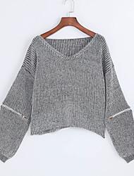 Long Pullover Femme Décontracté / Quotidien Chic de Rue,Couleur Pleine Gris Col en V Manches Longues Polyester Automne Fin