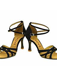 Obyčejné-Dámské-Taneční boty-Latina / Salsa-Satén-Na zakázku-Černá / Modrá / Žlutá / Růžová / Fialová / Červená / Bílá