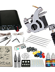 1 cast iron machine liner & shader Mini power supply 5 x tattoo needle RL 3 1PCS 1 x aluminum grip 1  5ml starter tattoo kits