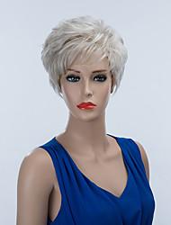 прохладный короткий монолитным парики естественные прямые человеческие волосы Сивер