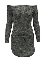 Women's Casual/Daily / Club Sexy / Street chic Bodycon DressSolid Sexy Knit Boat Neck Above Knee Long Sleeve  Spring / Fall