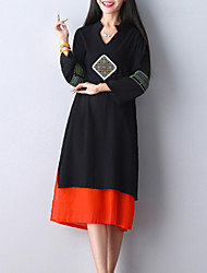 Women's Elegant chic Loose Dress Embroidered V Neck Midi Long Sleeve Red / Black Cotton / Linen Fall Mid Rise Inelastic Medium