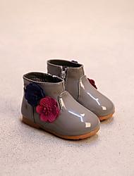 Girl's Flats Spring / Fall / Winter Others / Comfort PU Casual Flat Heel Zipper / Flower Black / Pink / Gray