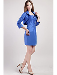 Sheath / Column Mother of the Bride Dress Knee-length 3/4 Length Sleeve Satin with Beading / Pleats