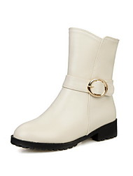 Women's Low-Heels Soft Material Low-top Solid Zipper Boots