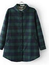 Chemise Femme,Pied-de-poule Décontracté / Quotidien simple Automne / Hiver Manches Longues Col de Chemise Rouge / Blanc / Vert Coton Epais
