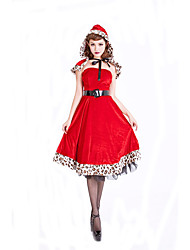 Cosplay Costumes Santa Suits Movie Cosplay Red Solid Dress / Hat Christmas Female Polyester