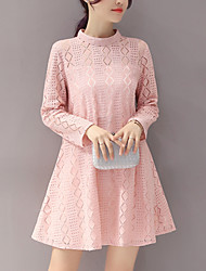 Women's Cut Out Slim Loose chic A Line / Lace Dress Solid Stand Mini Long Sleeve Pink / Green / Yellow Polyester Spring Mid Rise Inelastic
