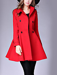 Women's Dailywear Solid Casual Fall Winter Coat,Solid Color Stand Long Sleeve Regular Wool Polyester