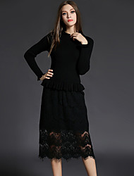 Women's Casual/Daily Sexy /Street chic Fashion Slim Lace /Sweater Dress Patchwork Stand Midi Black Wool /Polyester Spring /Fall