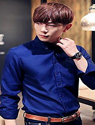 Men's Casual/Daily Simple Spring / Fall Shirt,Solid Shirt Collar Long Sleeve Blue / Green Cotton Medium